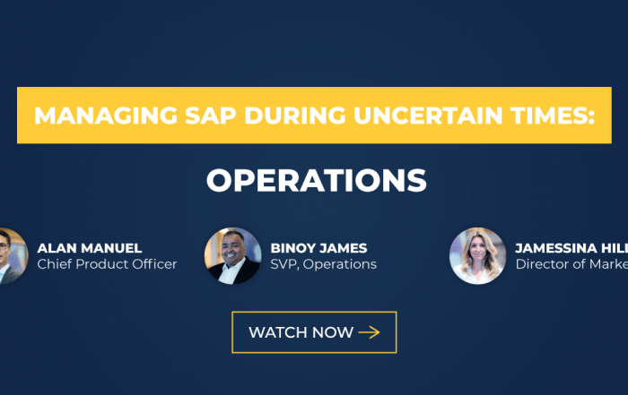 Text: Managing SAP During Uncertain Times